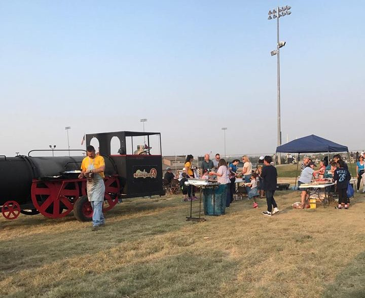 The+Greeley+West+Booster+Club+sponsored+a+barbecue+for+freshman+last+Thursday+night+at+District+6+Field.