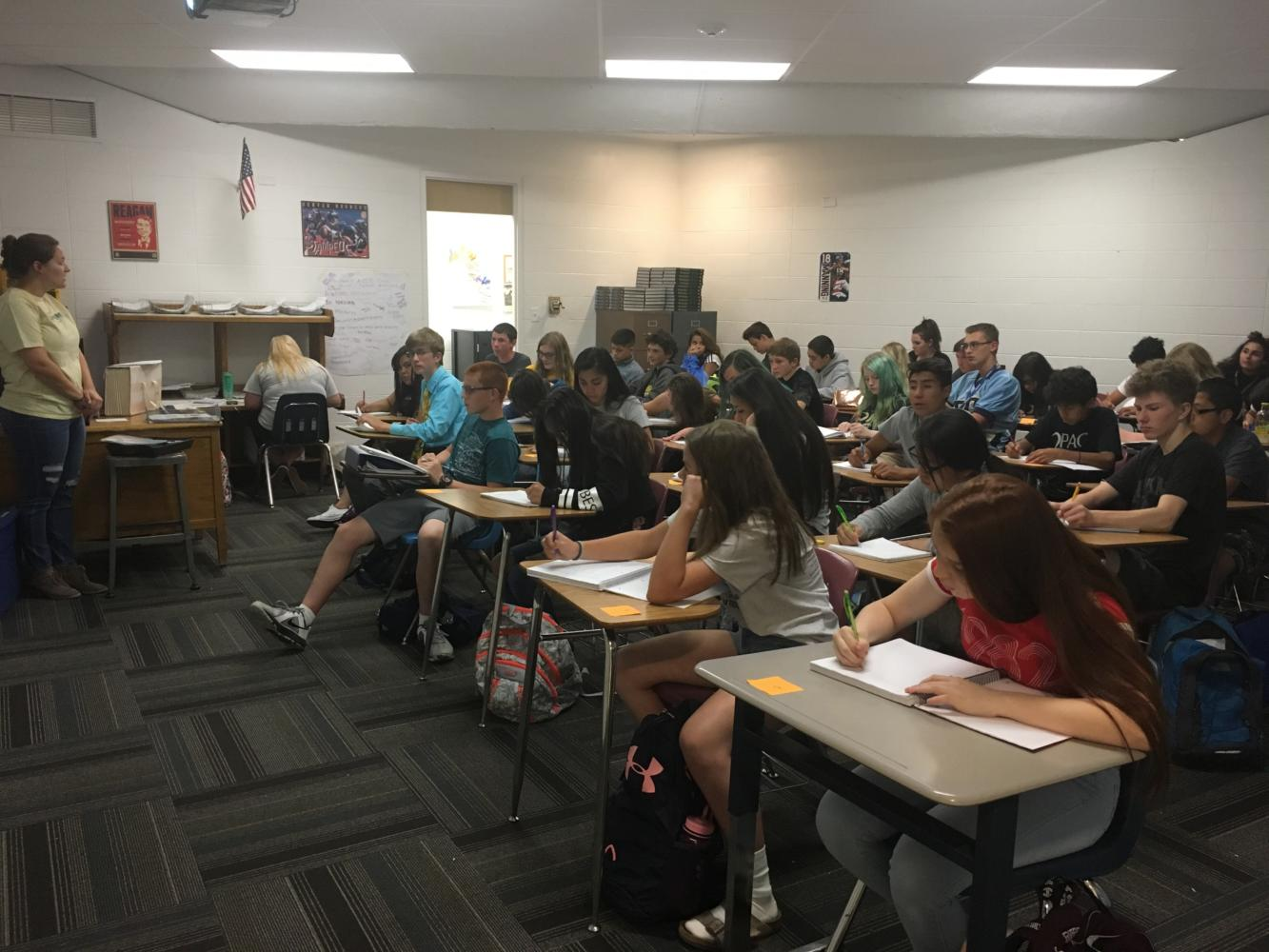 Ms. Kelly Stansbury's classroom packs into room 306 for Street Law class last week.