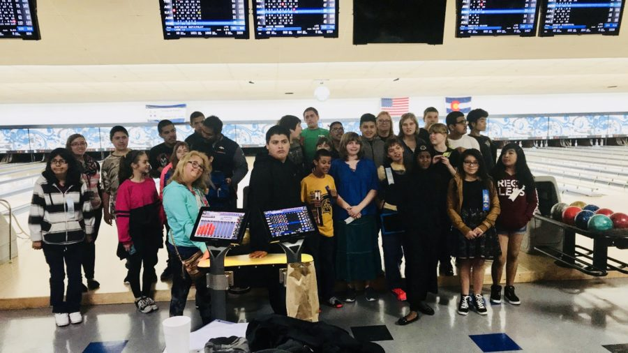 Greeley West students pose for a picture after bowling during the Special Olympics competition last week.