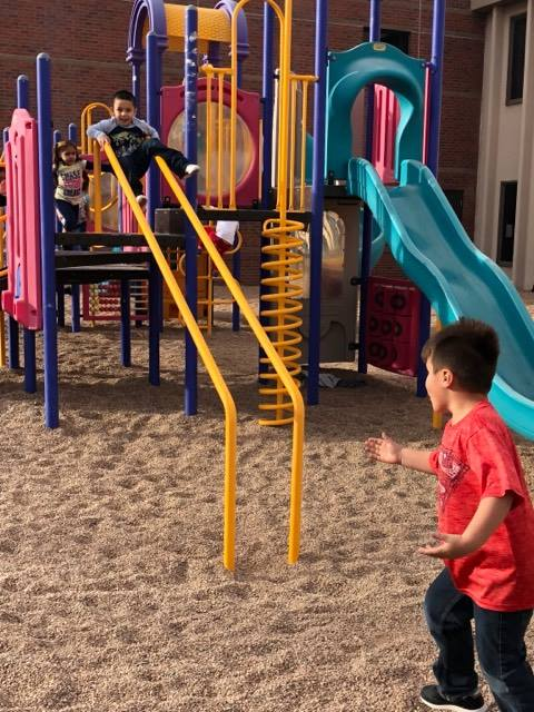 Meeker Elementary school first graders play at recess at Greeley Generations Church.