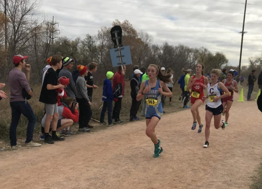 Sophomore Megan Starkey runs at the 5A State Championships in Colorado Springs.