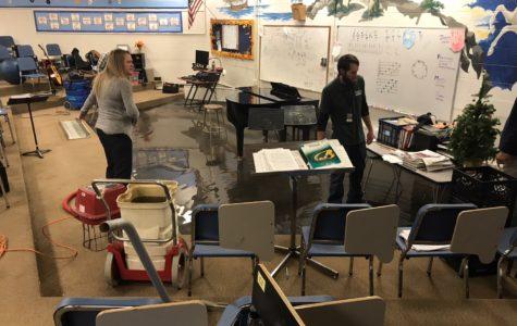 Broken pipe floods choir room