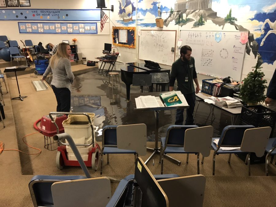 Choir+director+Ms.+Hannah+Webster+surveys+Lake+Nugent+Tuesday+morning.++