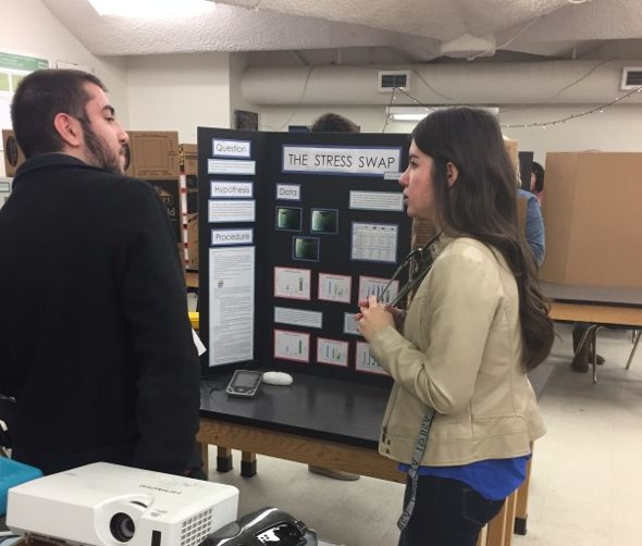 Senior Katie Gorsline presents her science fair project called