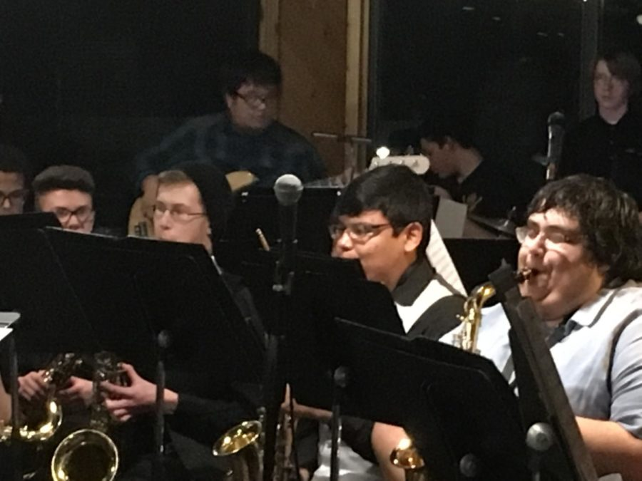 The Jazz Band jams out at Gourmet Grub on Monday night.