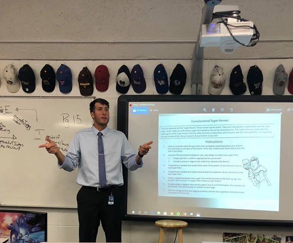 Mr. Ryan Hilbig lectures to his Street Law students last week.  Hilbig is one of the  newest members of the West staff, after moving from the Western Slope this past summer.