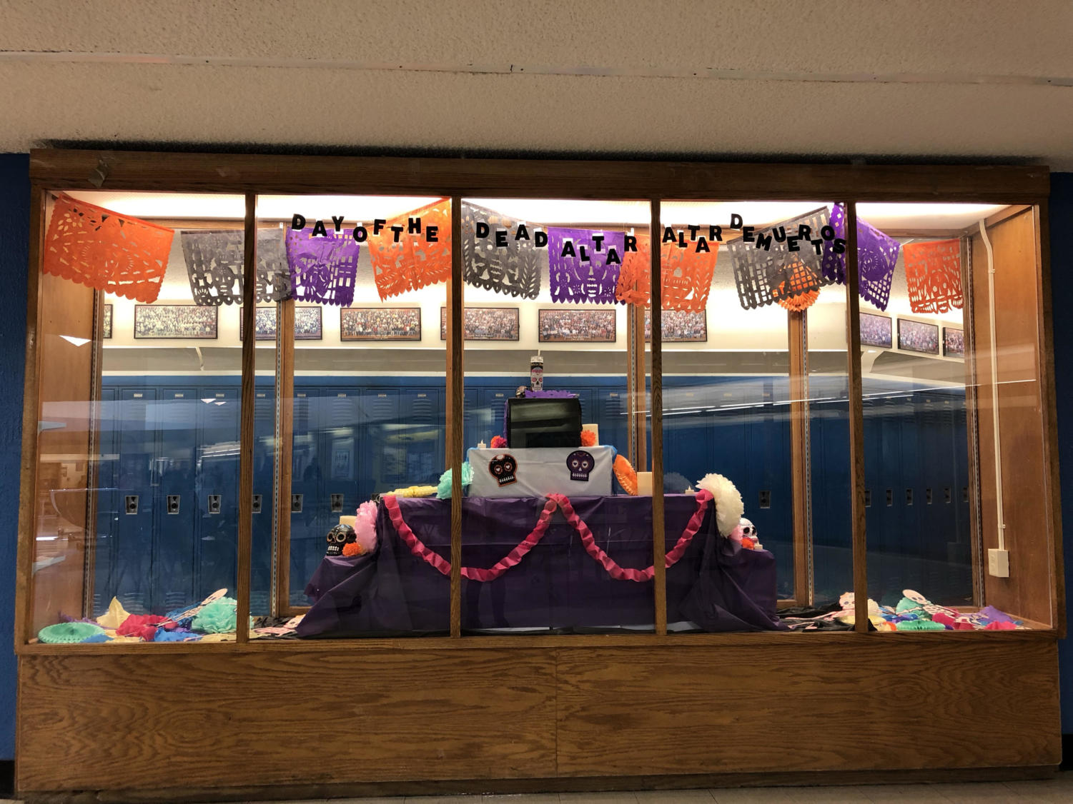 An alter is on display in the commons celebrating Dia De Los Muertos.