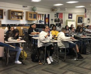 A group of freshmen sit in a traditional-style class on Thursday afternoon.  Schools should look to engage more students with collaborative activities and meaningful learning.