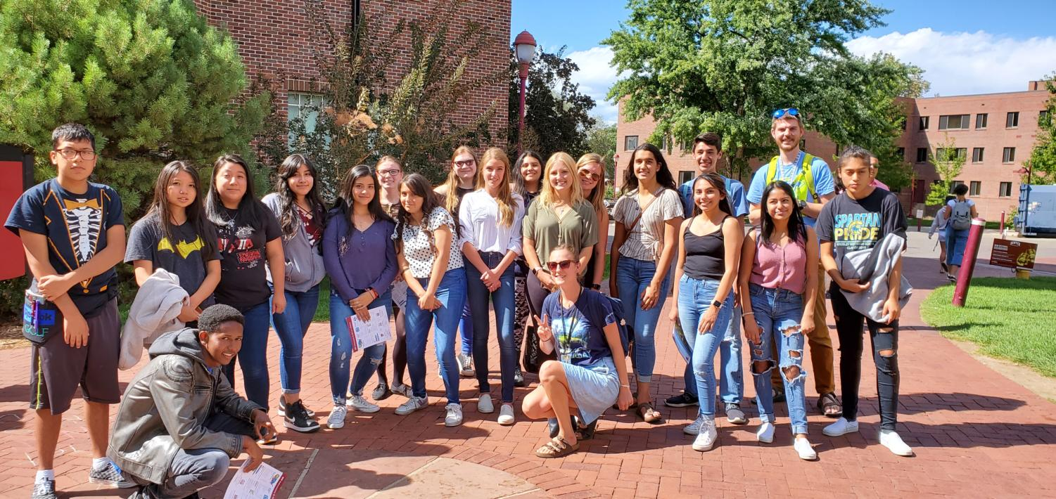 Greeley West students pose for a picture on their field trip to the University of Denver.