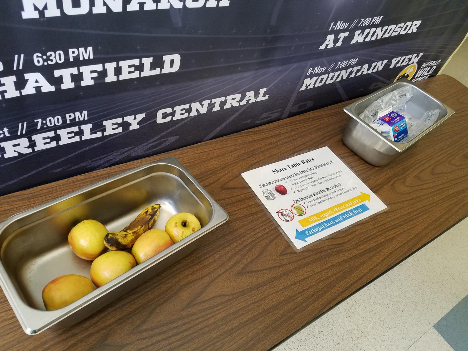 Food sits on the newly created Share Table in the commons area.  The Share Table is a way for West students to avoid wasting food while helping others who may be hungry.