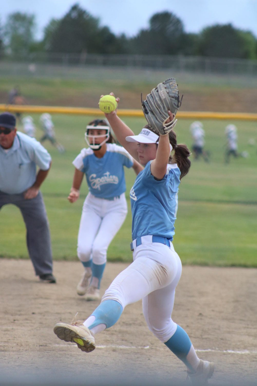 Kyra Grauberger delivers a pitch on Thursday at Northridge High School