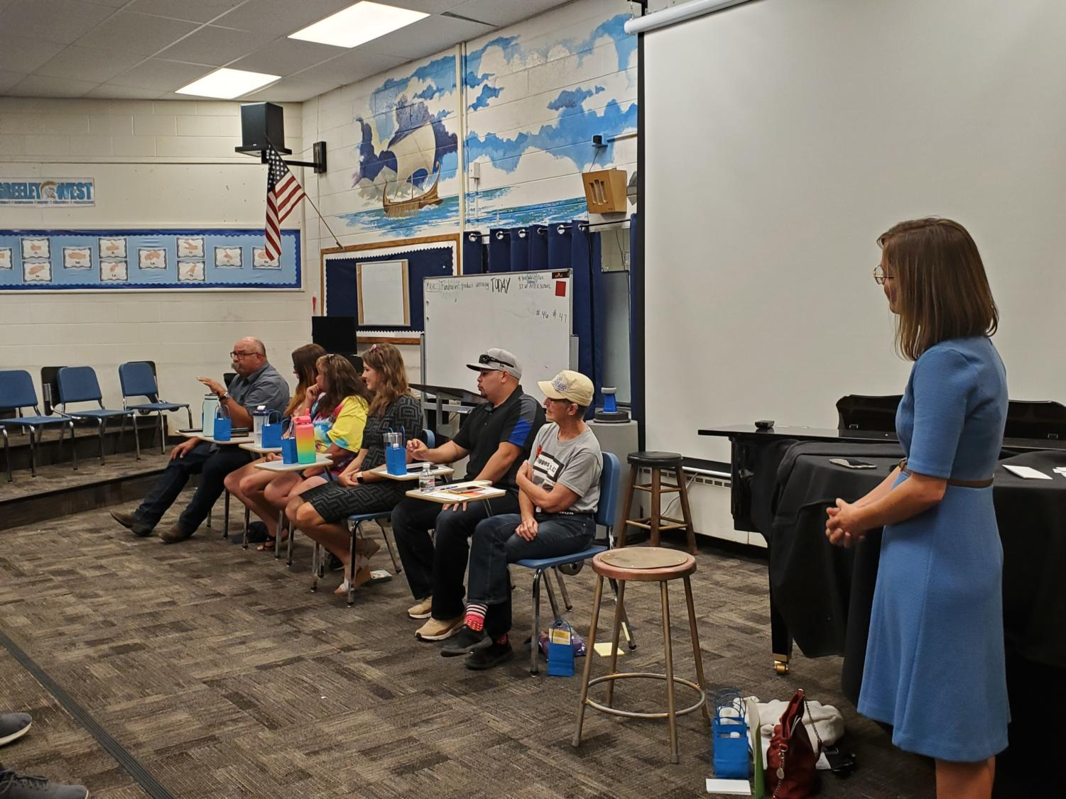 Ms. Libby Klingsmith leads a panel of agriculture experts during West's first Workforce Wednesday.  The event was well-attended and will have multiple sequels, including business, family-consumer science, and construction.