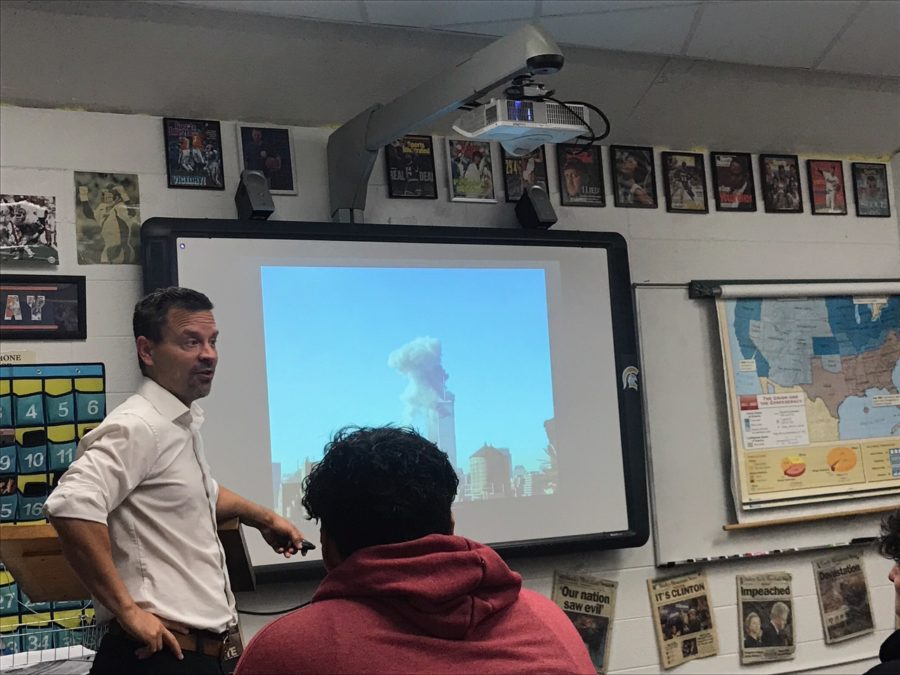 History teacher Mr. Don Wagner shares his recollections of 9/11 with his first period class on Monday.