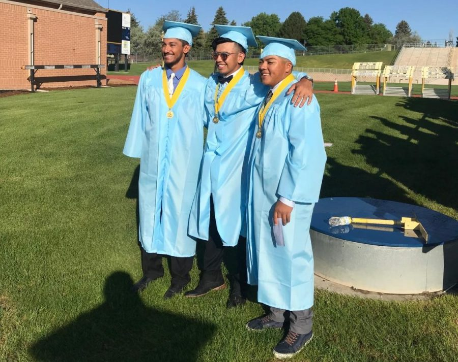 Greeley West graduates Luis DeLeon, Alfredo Verdugo and Cedric Corrales pose for pictures in 2018.