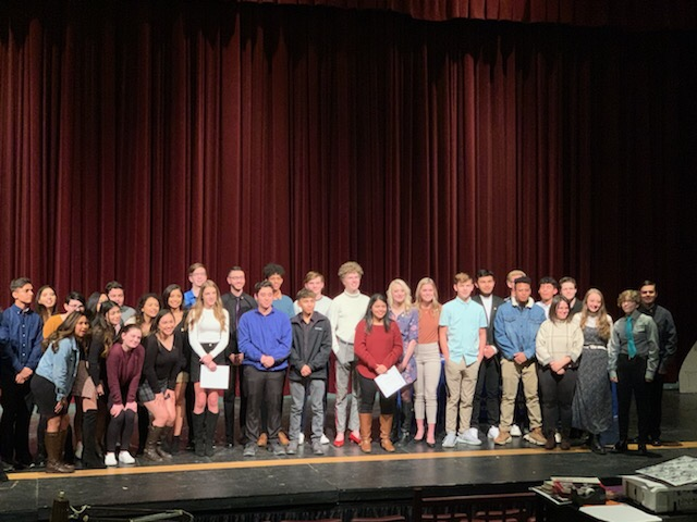 The+Greeley+West+IB+students+pose+for+a+photo+at+the+pinning+ceremony+on+Thursday+night.