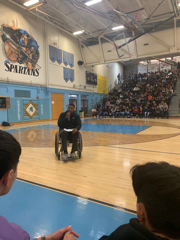 Motivational speaker Timothy Alexander addresses the student body during an all-school assembly on Thursday.