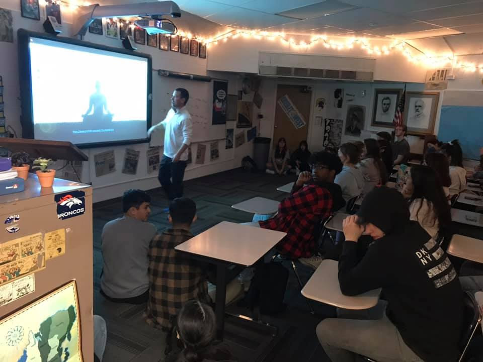 Mr. Don Wagner lectures about mindfulness with his students last week during his homeroom Passion Project.