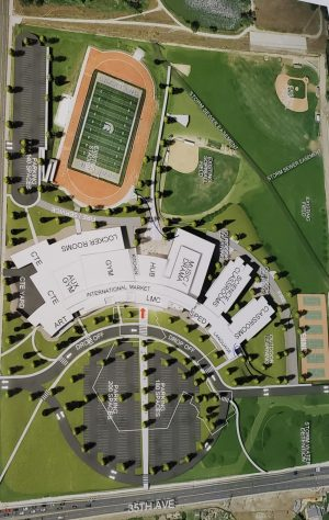 The new Greeley West design shows the landscape and layout of the building, as selected by the Design Advisory Group on Wednesday night.   Groundbreaking on the project will commence next fall.
