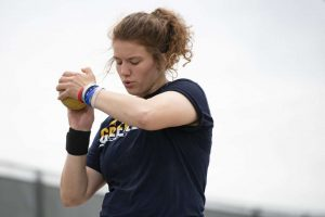 Senior Grace Whyrick prepares to throw the shotput.  Whyrick has multiple scholarship offers for next year.