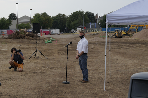 District 6 School Board President Mr.  Michael Mathews addresses a small Greeley West Community during Wednesday's groundbreaking ceremony for the new building.