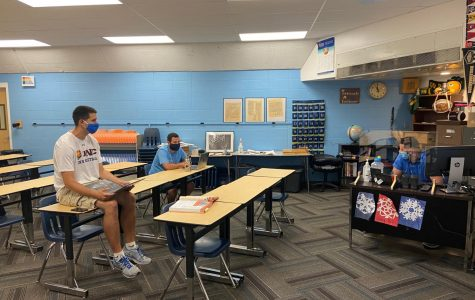 Greeley West World Studies teachers Mr. Stephen Paulson, Mr. Taylor Juarez, and Mr. Cody Jiru plan for the first week of instruction this year on Thursday.