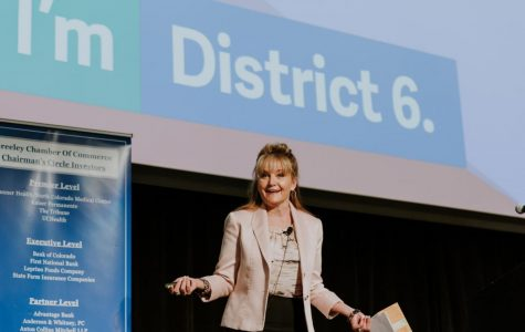 District 6 Superintendent Dr. Deirdre Pilch speaks at a Greeley Chamber of Commerce event last year, before the outbreak of COVID-19.