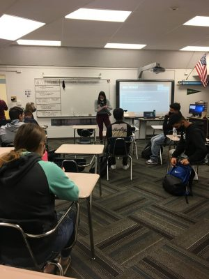 Ms. Lauren Rodgers teachers her history class last week. Rodgers is one of the new teachers at West integrating technology and teaching online.