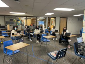 Greeley West seniors in DP History 2 work through an assignment on Friday.  Seniors at Greeley West are facing senioritis like never before given all the changes in education format this year.