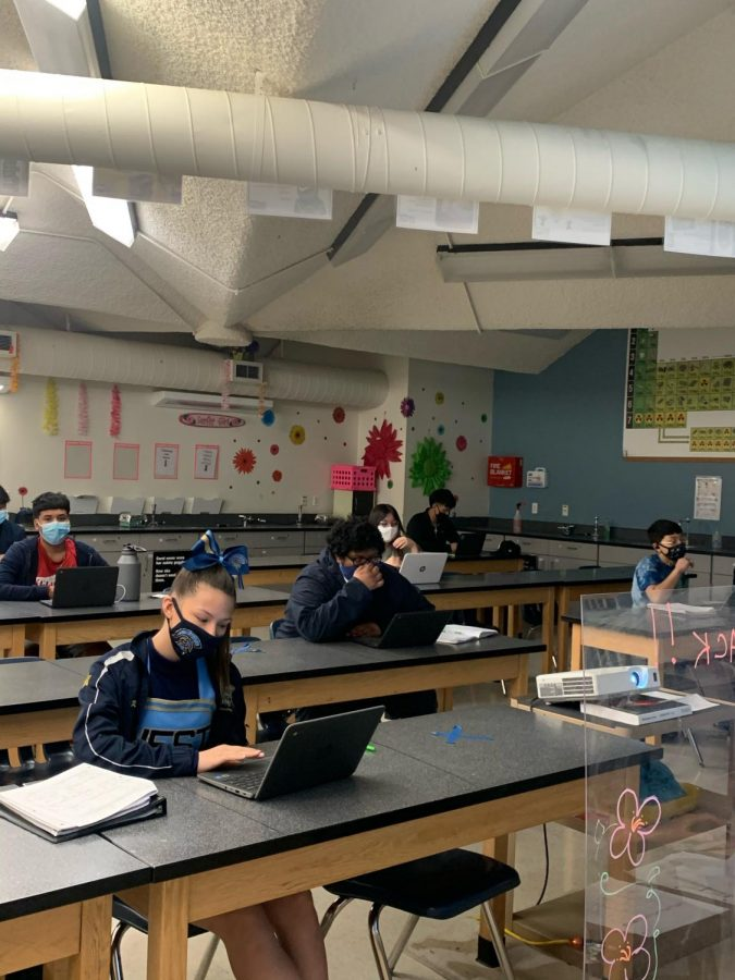 Sophomores Ralisha Anderson works on science, masked, during class.