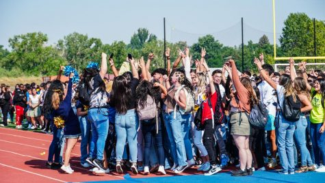 Greeley West seniors rally and cheer during the schools opening day assembly on Thursday morning.