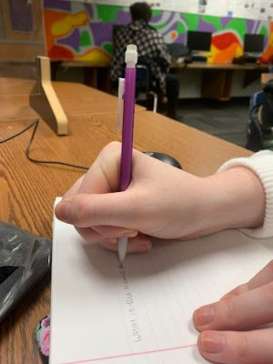 A mechanical pencil, put to work at Greeley West High School this past week.